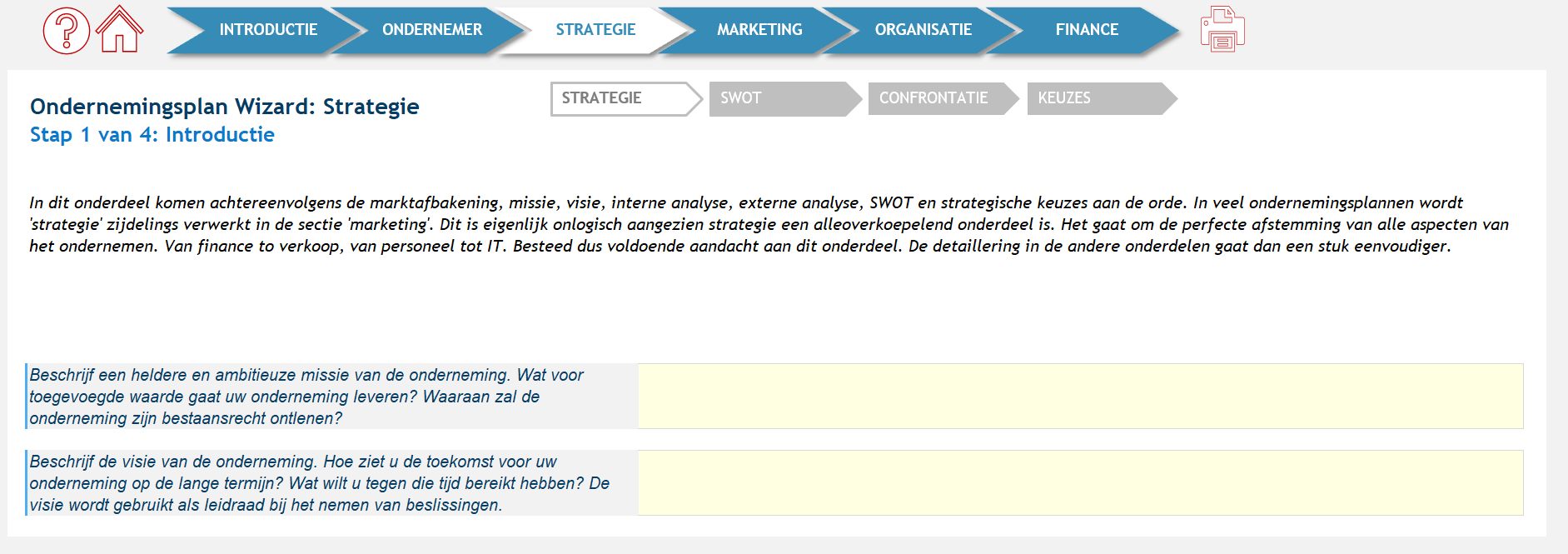 instructie ondernemingsplan applicatie: introductie